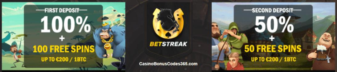 Betstreak Bitcoin Casino First and Second Deposit Bonus 2 BTC 150 FREE Spins