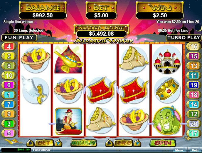 Diamond Reels Casino RTG Aladdins Wishes