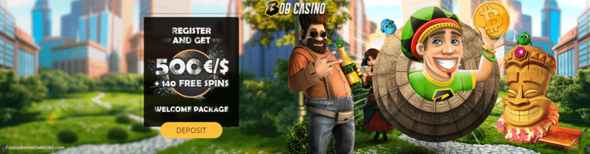 Bob Casino Welcome Package €500 plus 140 FREE Spins
