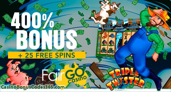 Fair Go Casino RTG Triple Twister with 400% plus 25 Free Spins Bonus