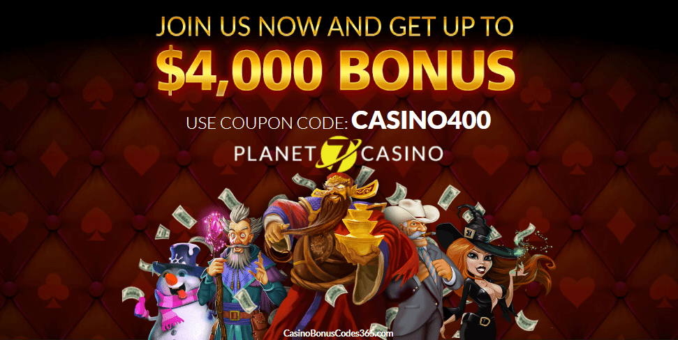 Planet 7 Casino 400% up to $4000 Bonus