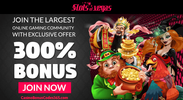 Slots of Vegas 300% $3000 Bonus