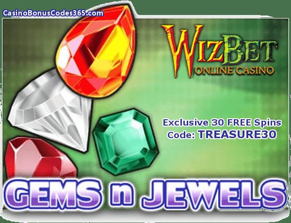 WizBet Online Casino Saucify Gems n Jewels 30 No Deposit FREE Spins