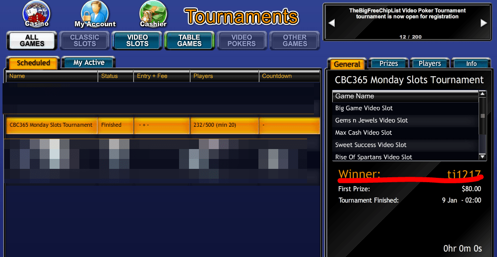 CBC365 Monday Slots Tournament Participation