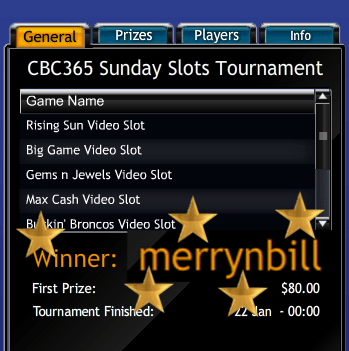 CBC365 Sundays Slots Tournament Winner