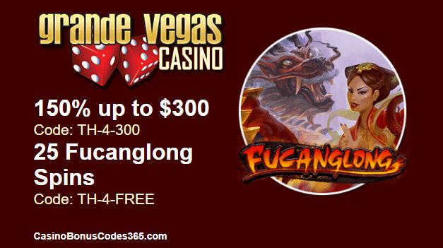 Grande Vegas Casino 150% Bonus plus 25 FREE RTG Fucanglong Spins