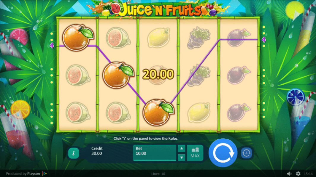 ParadiseWin Playson Juice N Fruits 30 FREE Spins