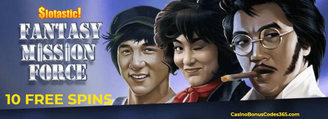 Slotastic! Casino RTG New Game Fantasy Mission Force 10 FREE Spins No Deposit Bonus