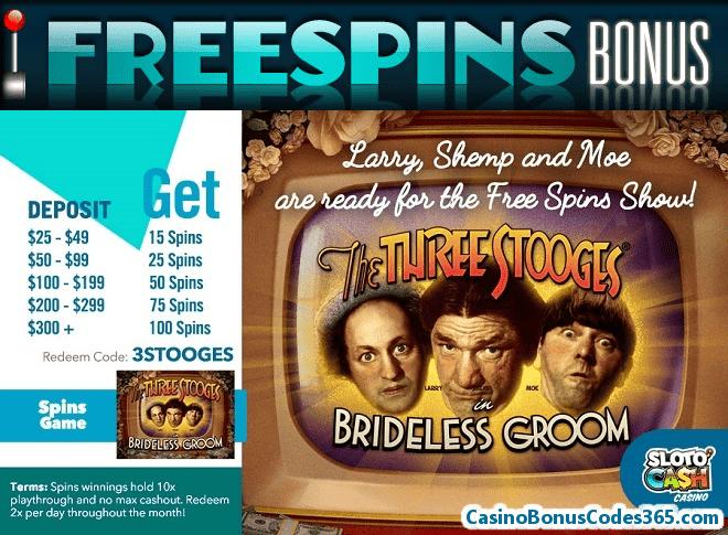 SlotoCash Casino 100 FREE Spins RTG The Three Stooges Brideless Groom