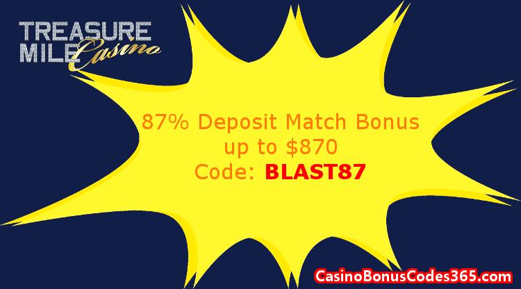 Treasure Mile Casino January 2018 87% Match up to $870 Deposit Bonus