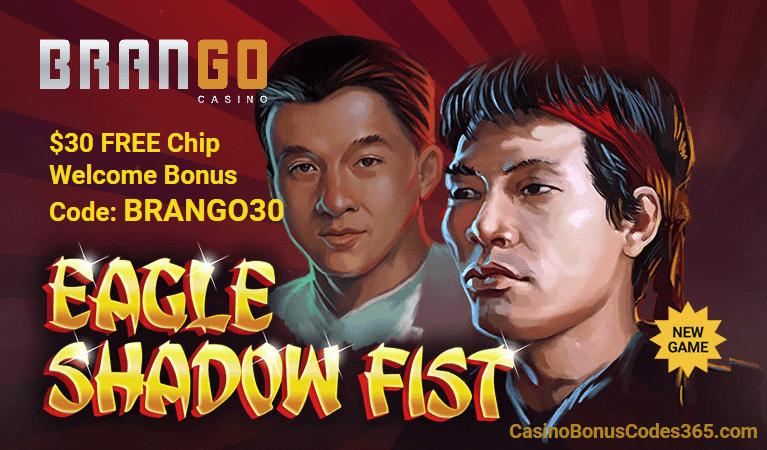 Casino Brango RTG Eagle Shadow Fist $30 FREE Chip Welcome Bonus