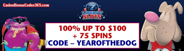 Liberty Slots 100% up to $100 plus 75 Spins Chinese New Year WGS Fat Cat