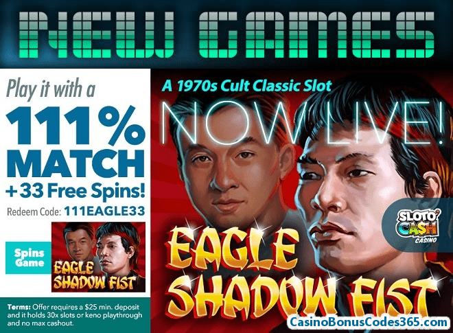 SlotoCash Casino RTG Eagle Shadow Fist