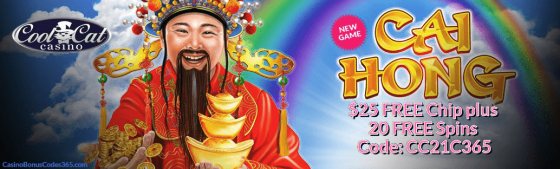 CoolCat Casino $25 plus 20 FREE Spins Exclusive Deal RTG Cai Hong