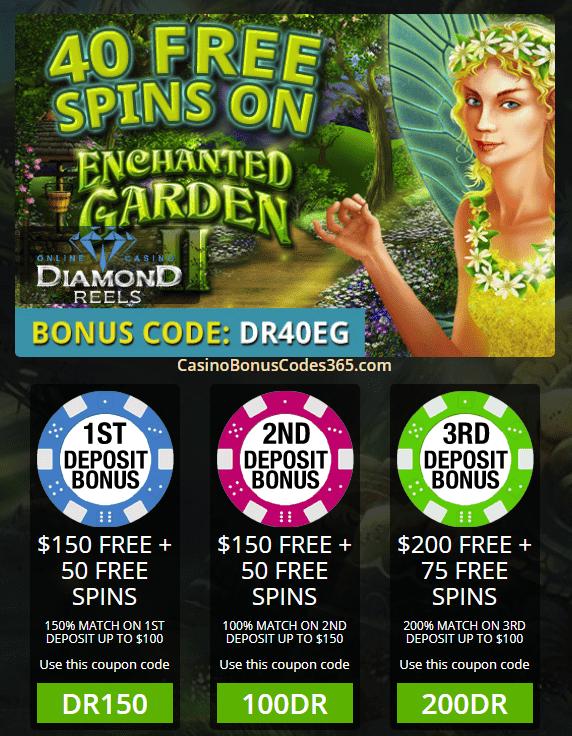 Diamond Reels Casino Exclusive 40 FREE Spins on RTG Enchanted Garden II