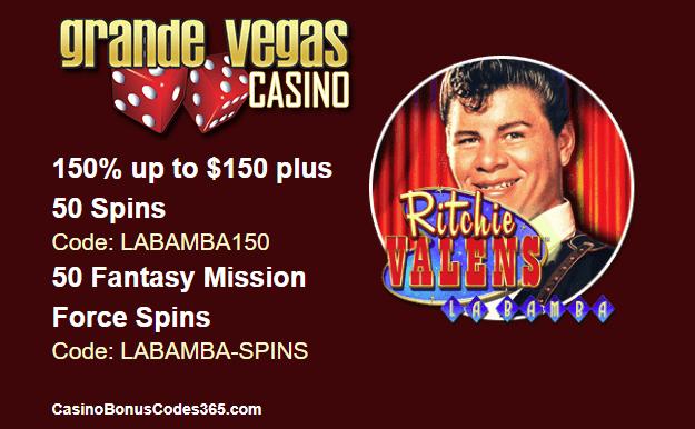Grande Vegas Casino RTG Ritchie Valens La Bamba 150% up to $150 plus 50 Spins