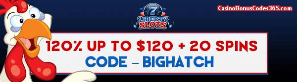 Liberty Slots 120% up to $120 plus 20 Spins WGS Funky Chicks