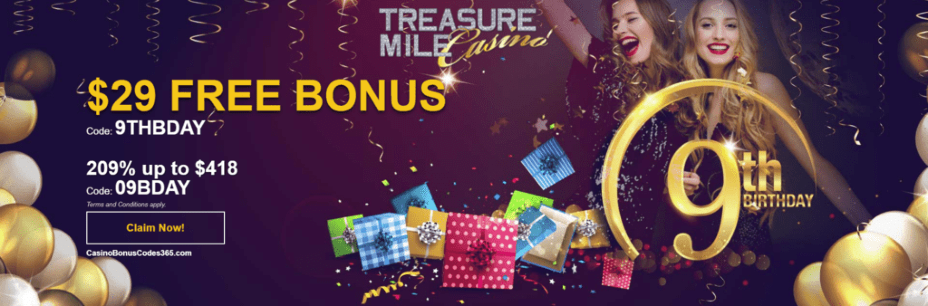 Treasure Mile Casino 9th Birthday $29 FREE Chip plus 209% Match up to $418 Bonus