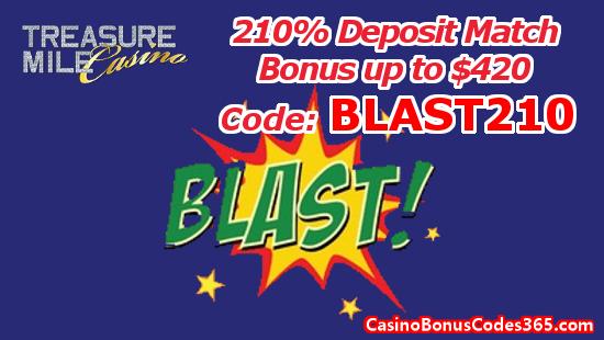 Treasure Mile Casino 210% Deposit Match Bonus up to $420 BLAST210