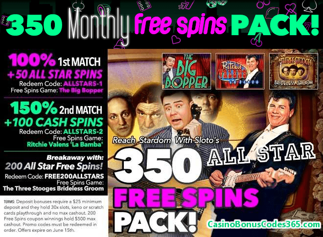 Uptown Aces 350 All Star Free Spins Pack!