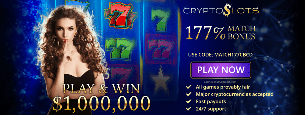 CrytoSlots Exclusive 177% Match Bonus