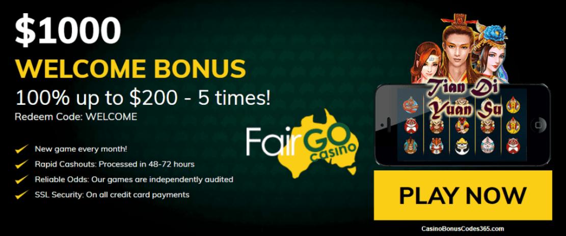 Fair Go Casino RTG Tian Di Yuan Su $1000 Welcome Bonus