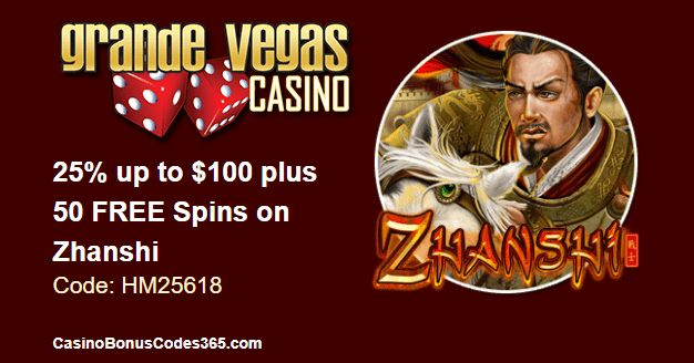 Grande Vegas Casino June 2018 RTG Zhanshi 25% up to $100 plus 50 FREE Spins
