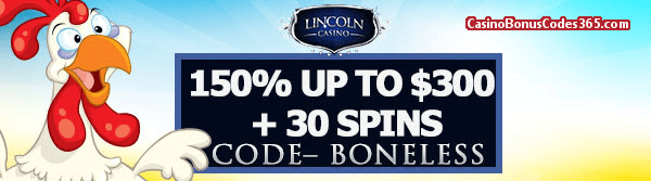 Lincoln Casino 150% up to $300 Bonus plus 50 FREE Funky Chicken Spins June Special Promo