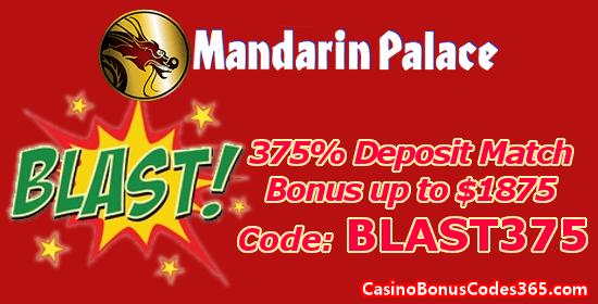 Mandarin Palace Online Casino 375% up to $1875 Deposit Match Bonus