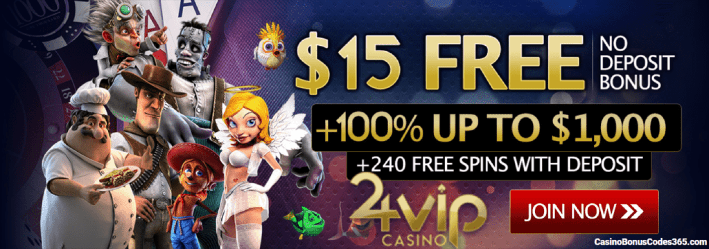 24VIP Casino Rival Gaming Betsoft Vivo Gaming US Friendly $15 FREE Chip $1000 Welcome Bonus plus 240 FREE Spins