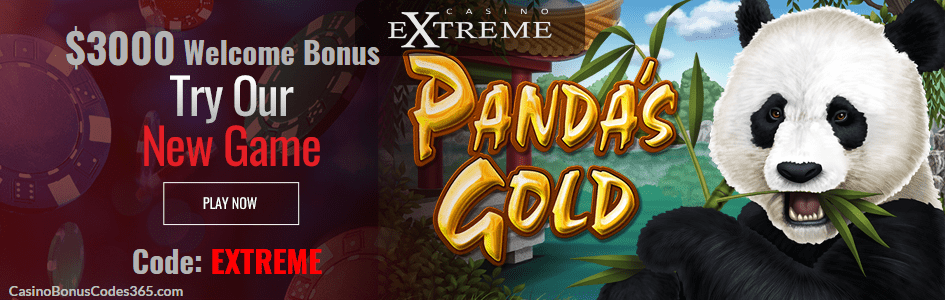 Casino Extreme New RTG Game Pandas Gold $3000 Sign up bonus