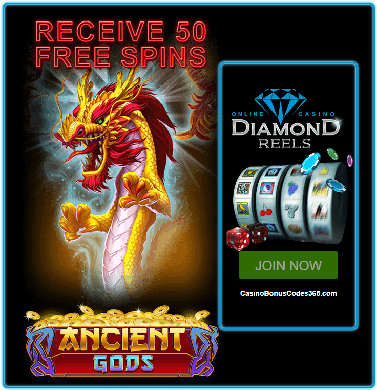 Diamond Reels Casino Exclusive 50 FREE Spins on RTG Ancient Gods
