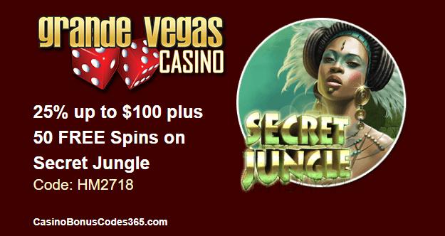 Grande Vegas Casino June 2018 RTG Secret Jungle 25% up to $100 plus 50 FREE Spins