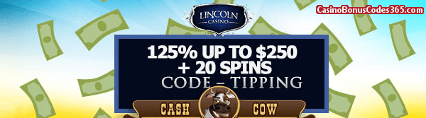 Lincoln Casino July 2018 125% up to $125 plus WGS Cash Cow 2 0Spins