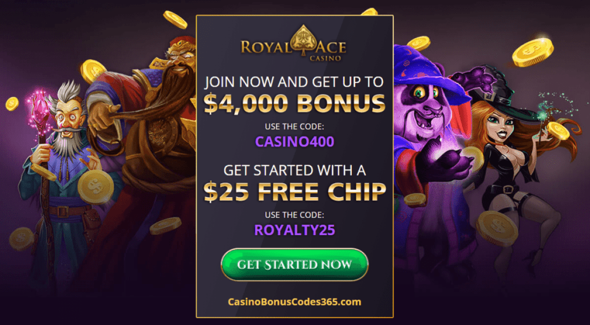 Royal Ace Casino 400% up to $4000 plus $25 FREE Chip Welcome Package