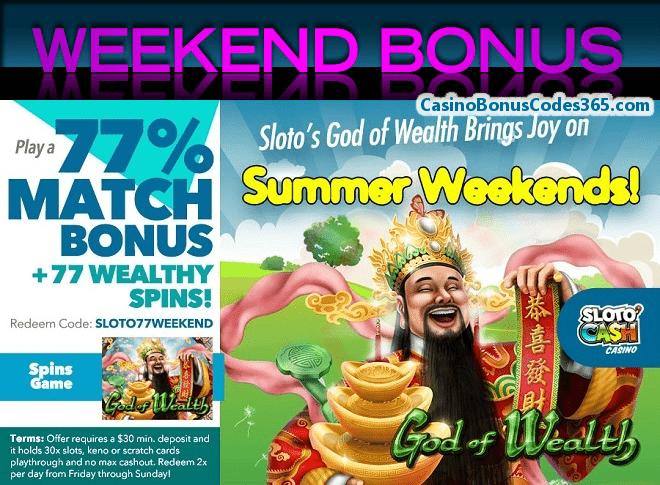 SlotoCash Casino RTG God of Wealth 77% 77 FREE Spins