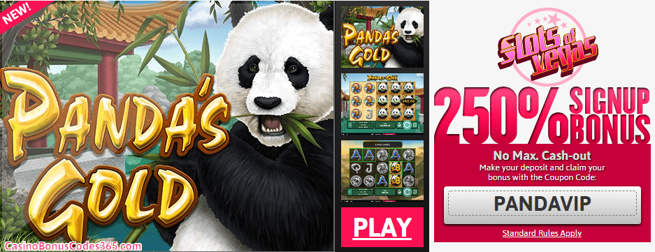 Slots of Vegas new RTG game San Guo Zheng Ba 250% No Rules Signup bonus plus 50 FREE Spins RTG Pandas Gold