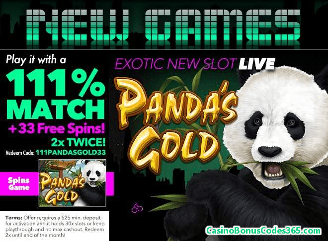 Uptown Aces New Game RTG Panda's Gold 111% Match plus 33 FREE Spins