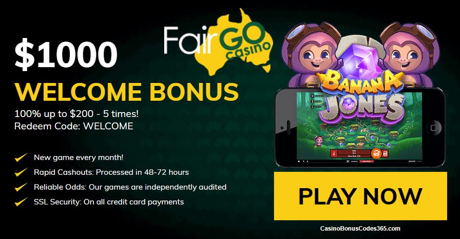 Fair Go Casino RTG Banana Jones $1000 Welcome Bonus