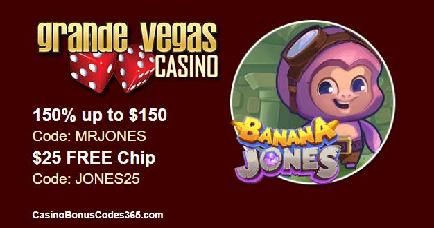 Grande Vegas Casino New Game RTG Banana Jones 150% Bonus plus $25 FREE Chip
