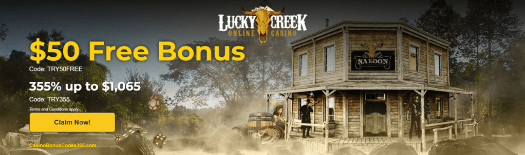 Lucky Creek Casino $50 FREE Chip plus 355% up to $1065
