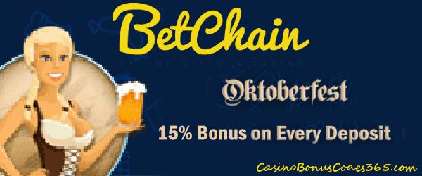 Betchain Bitcoin Casino Oktoberfest 15% Match Bonus on Every Deposit
