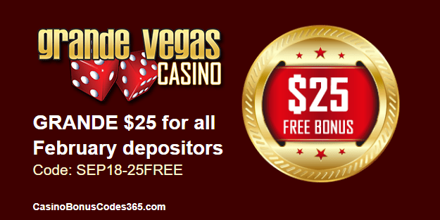 Grande Vegas Casino $25 FREE Chip September Special Offer