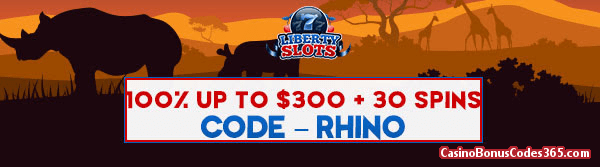 Liberty Slots 100% up to $300 plus 30 FREE Dynasty Spins Special Promo