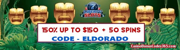 Liberty Slots 150% up to $150 Bonus plus 50 FREE Spins on City of Gold Special Promo