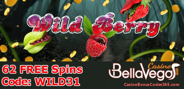 Bella Vegas Casino 62 FREE Spins on Saucify Wild Berry