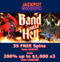 Jackpot Wheel New Game Saucify Band Outta Hell 50 FREE Spins plus 200% Match Bonus