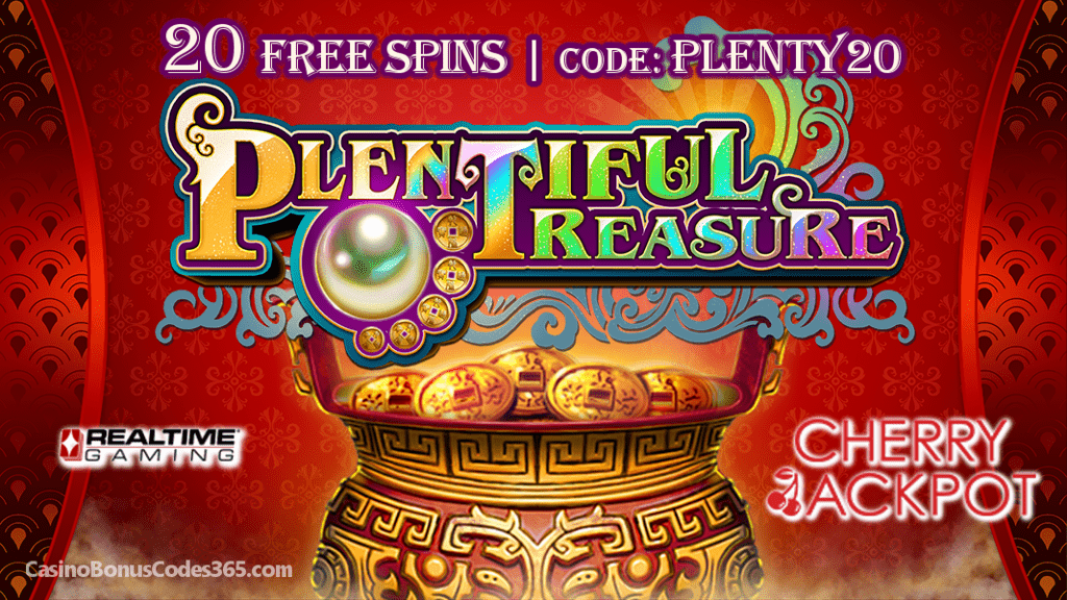 Cherry Jackpot New RTG Game Special Promo 20 FREE Spins on Plentiful Treasure