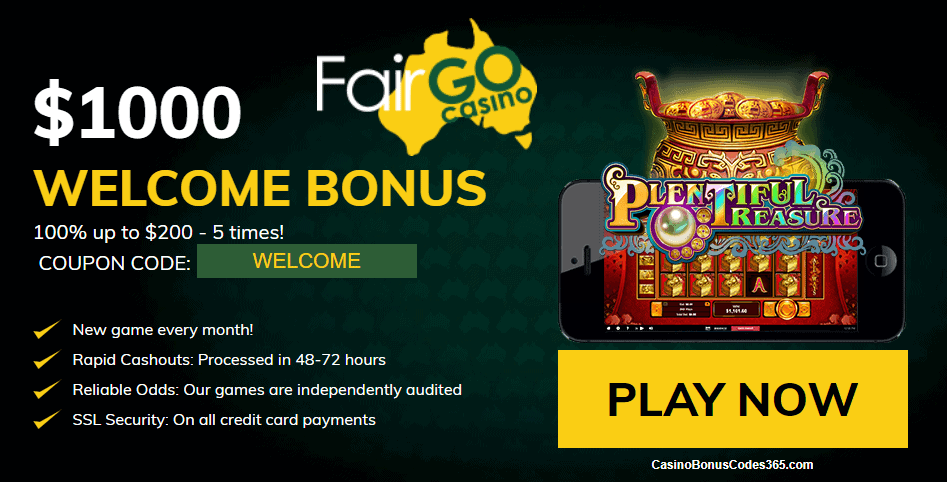 Fair Go Casino RTG Plentiful Treasure $1000 Welcome Bonus