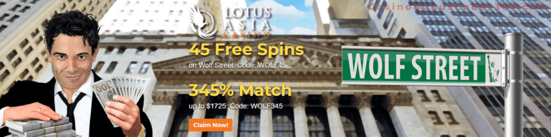 Lotus Asia Casino 45 FREE Saucify Wolf Street Spins plus 345% Bonus Special Offer